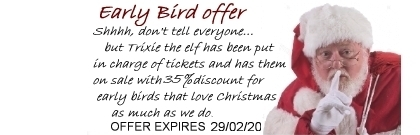 Early Bird 35% discount off Christmas 2020 tickets to Reindeer Lodge